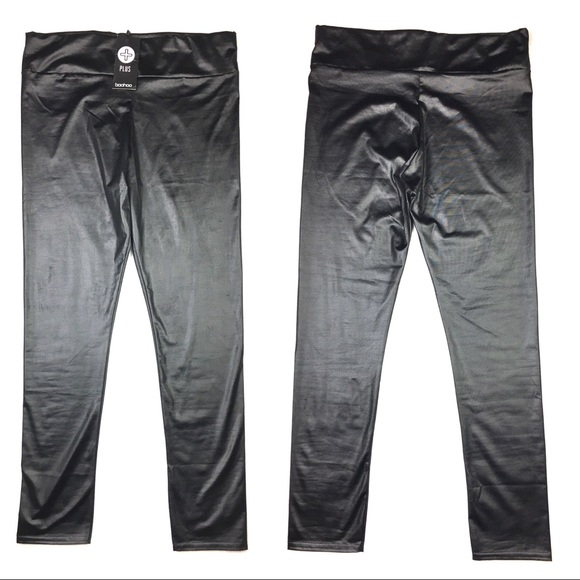 b74af0e5de053c Boohoo Plus Pants | Nwt Boohoo Betsy High Waist Wet Look Legging ...